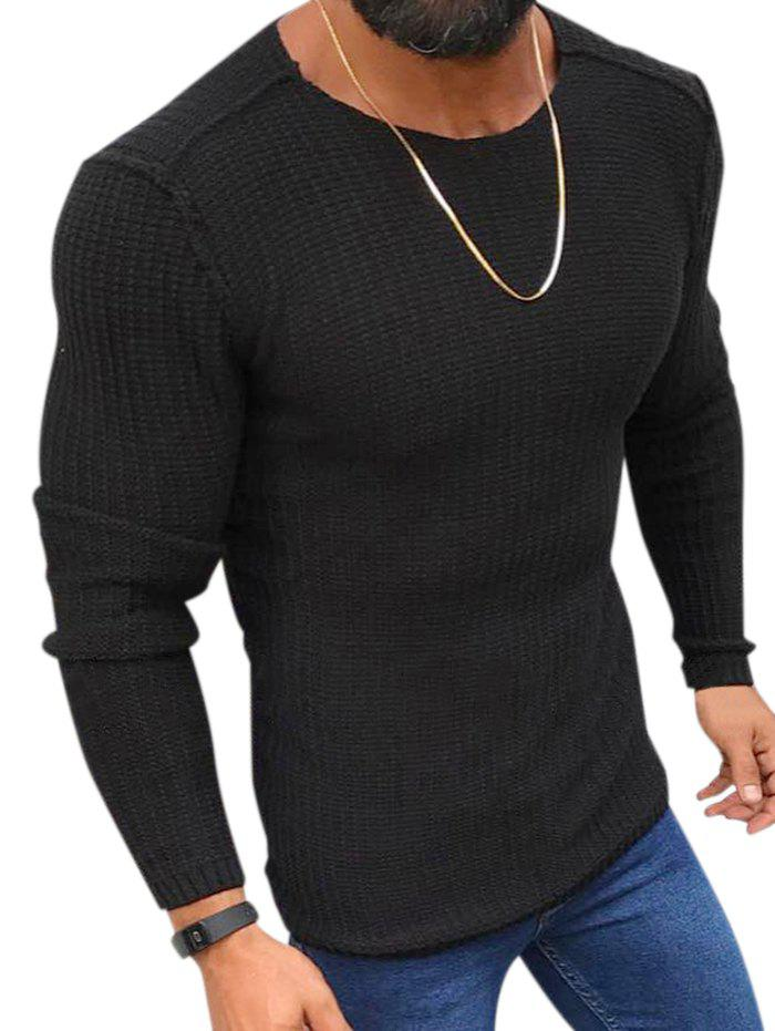 Store Plain Purl Knit Pullover Sweater