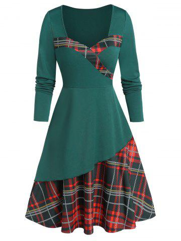 Sweetheart Neck Plaid Fit and Flare Dress