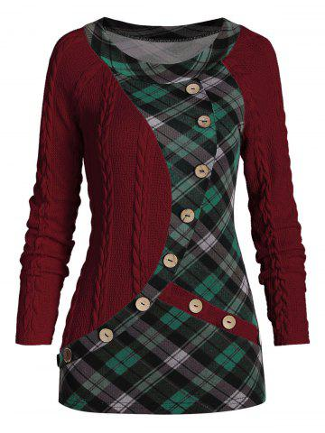 Mock Button Plaid Insert Cable Knit Sweater - RED WINE - 3XL