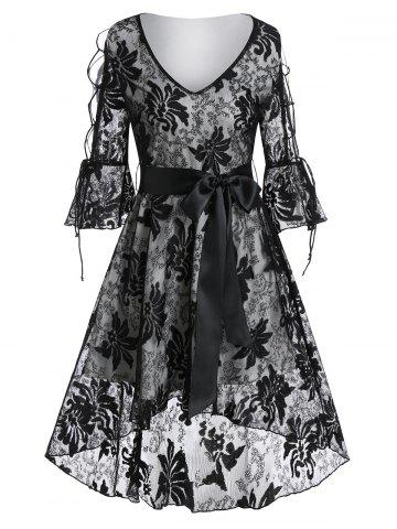 Poet Sleeve Lace-up Flower Lace High Low Dress