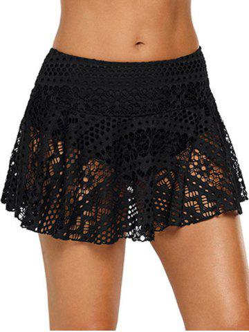 Mid-rise Skirted Lace Swim Bottom - BLACK - S