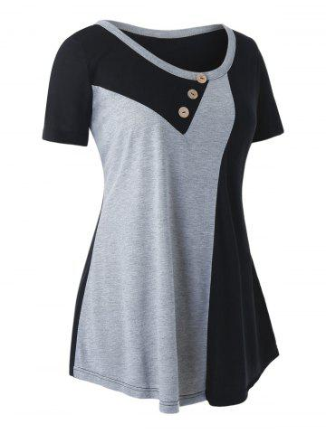 Plus Size Colorblock T Shirt - BLACK - L