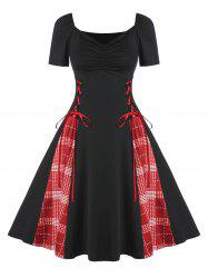Une ligne Plaid Imprimer Lace Dress Up -