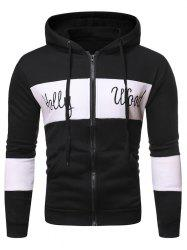 Letter Pattern Zipper Hooded Sweatshirt -