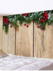 Christmas Branches Berry Wood Grain Print Tapestry Wall Hanging Art Decoration -