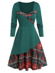 Sweetheart Neck Plaid Fit and Flare Dress -