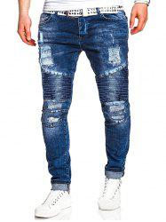 Ripped Drape Panel Zip Fly Jeans -