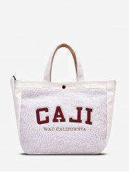 Graphic Pattern Suede Tote Bag -