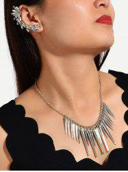 Spike Chain Necklace And Rhinestone Ear Cuff Earring Set -
