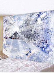 Christmas Snow Forest House Print Tapestry Wall Hanging Art Decoration -