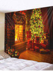 Christmas Tree Gifts Fireplace Print Tapestry Wall Hanging Decor -