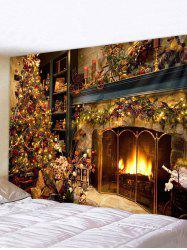 Christmas Tree Fireplace Printed Tapestry Wall Hanging -