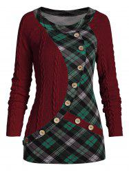 Mock Button Plaid Insert Cable Knit Sweater -