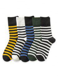 5Pairs Sports Striped Print Socks Set -