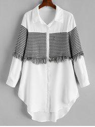 Plus Size High Low Houndstooth Fringed Shirt -