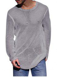 Plain Open Knit Pullover Sweater -