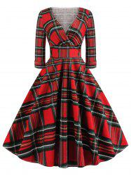 Plus Size Vintage Plaid Surplice Dress -