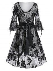 Poet Sleeve Lace-up Flower Lace High Low Dress -
