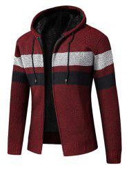 Color Spliced Zip Up Fluffy Cardigan -