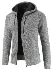 Casual Zip Up Hooded Fluffy Cardigan -