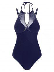 Ring Mesh Overlay Sparkly Push Up One-piece Swimsuit -