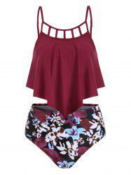 Floral Lattice Flounce High Rise Tankini Swimwear -