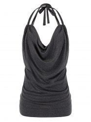Plus Size Cowl Front Halter Open Back Tank Top -