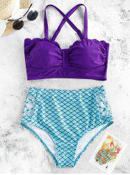 Scalloped Criss-cross Padded Mermaid Bikini Swimsuit -
