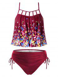 Plus Size Butterfly Print Lattice Cinched Tankini Swimsuit -