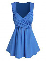 Plunge Neck Crossover Flare Tank Top -