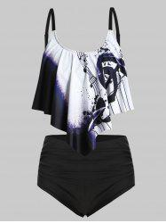 Plus Size Musical Notes Print Overlay Tankini Swimsuit -