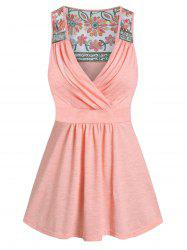 Flower Lace Insert Plunge Neck Knot Back Tank Top -