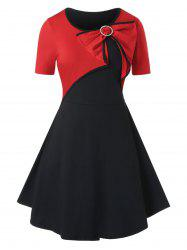 Plus Size Bowknot Two Tone Tunic Piping Dress -