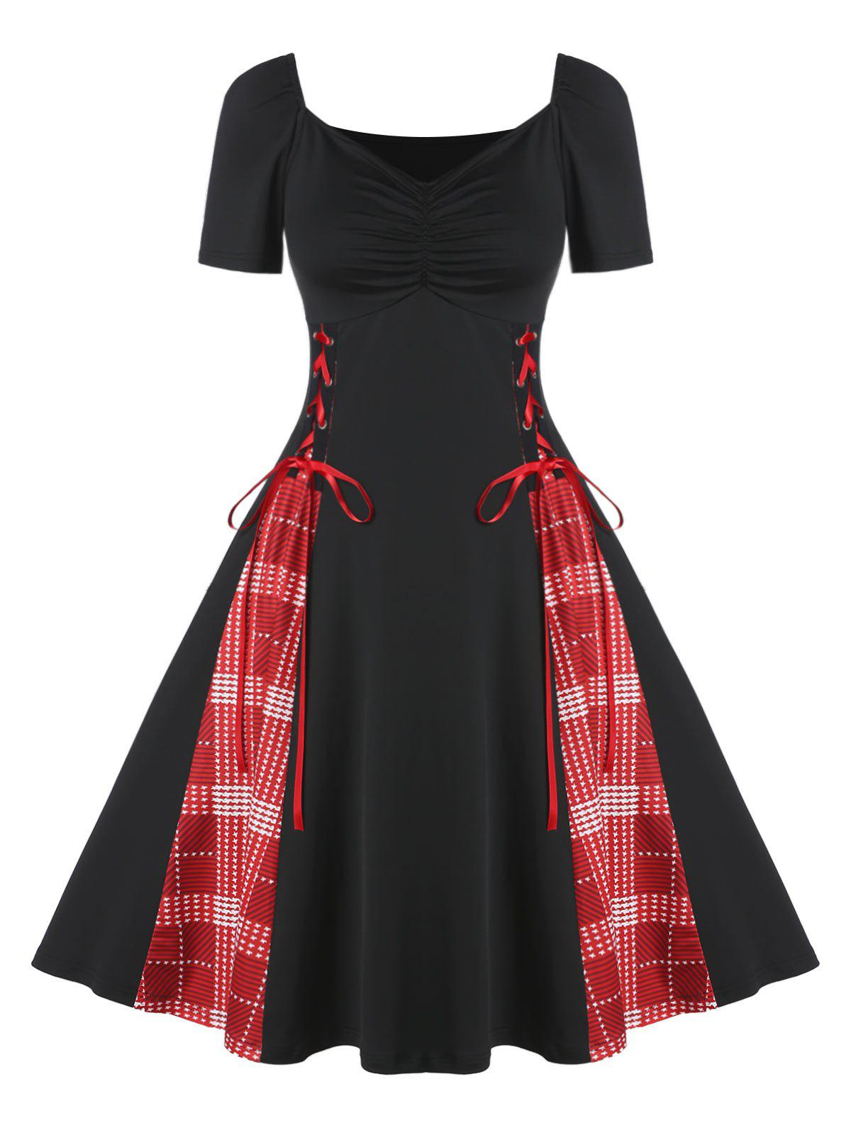 Une ligne Plaid Imprimer Lace Dress Up