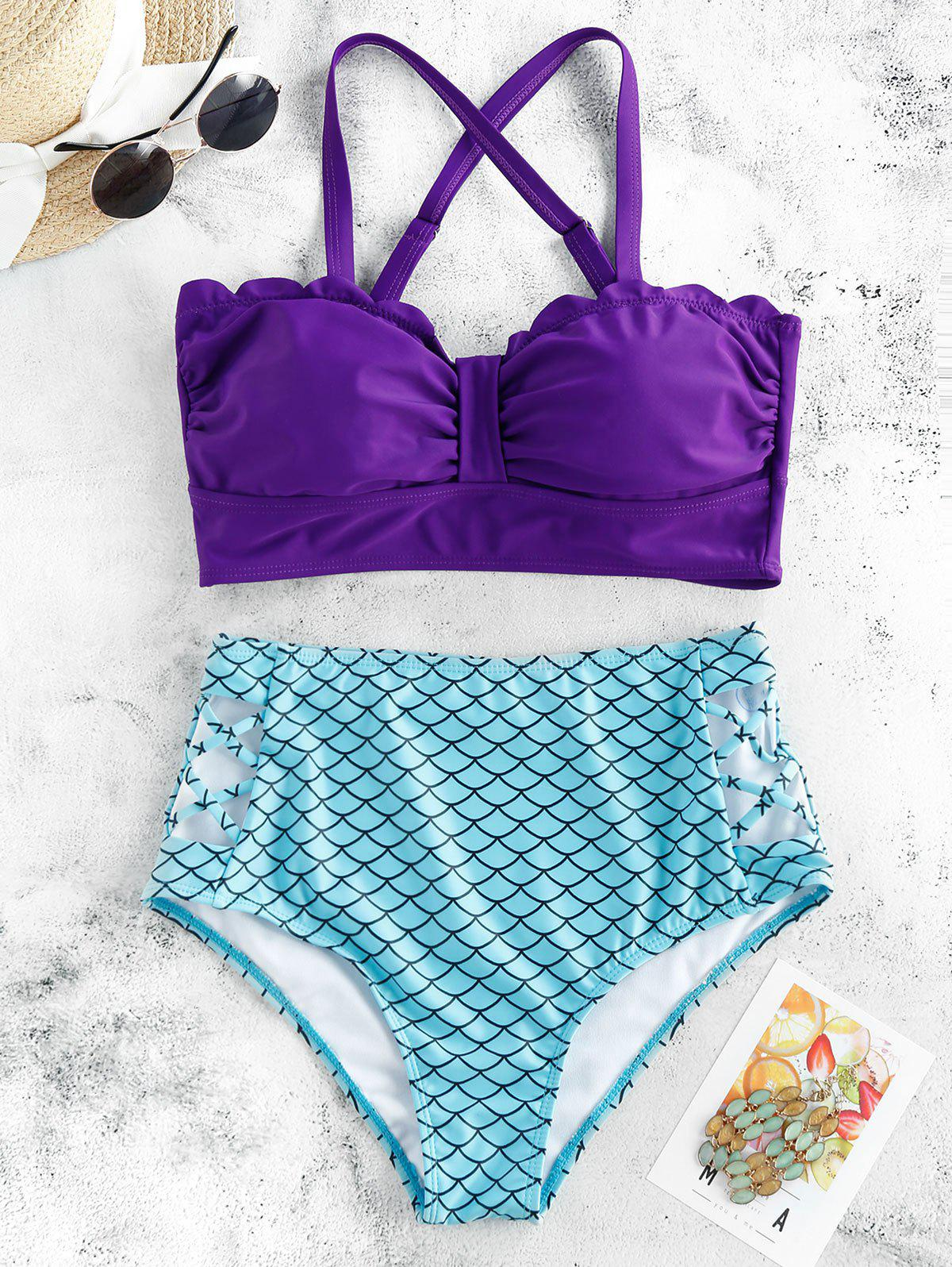 Trendy Scalloped Criss-cross Padded Mermaid Bikini Swimsuit