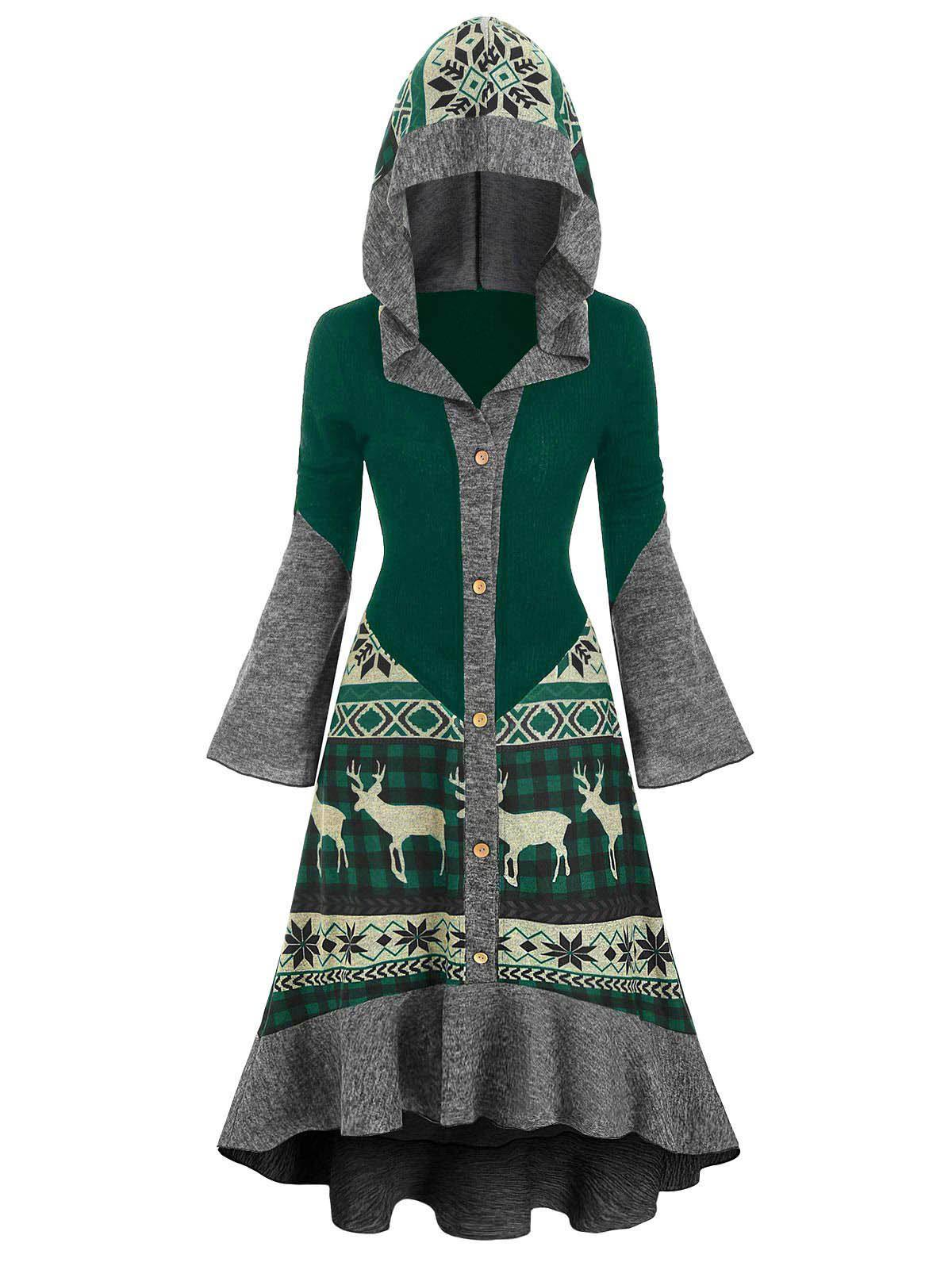 Christmas Elk Hooded Flippy Hem Knitted Dress фото