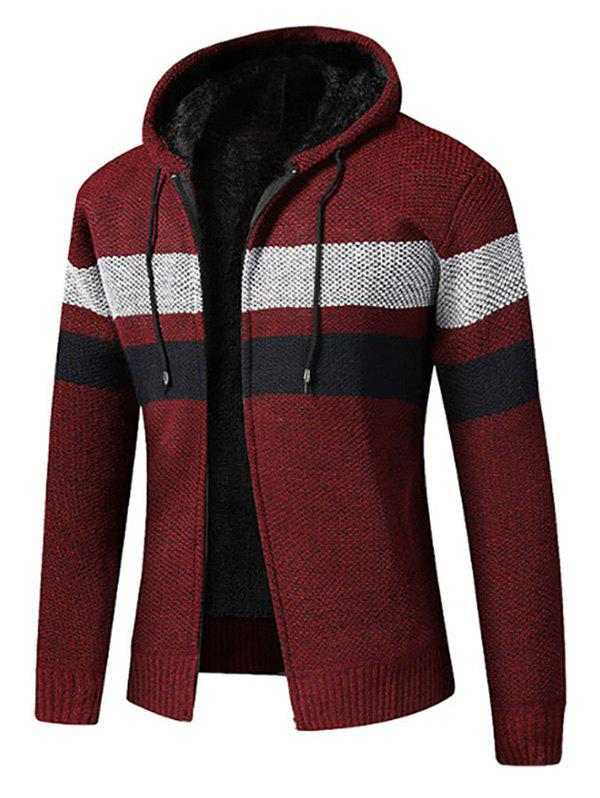 Affordable Color Spliced Zip Up Fluffy Cardigan