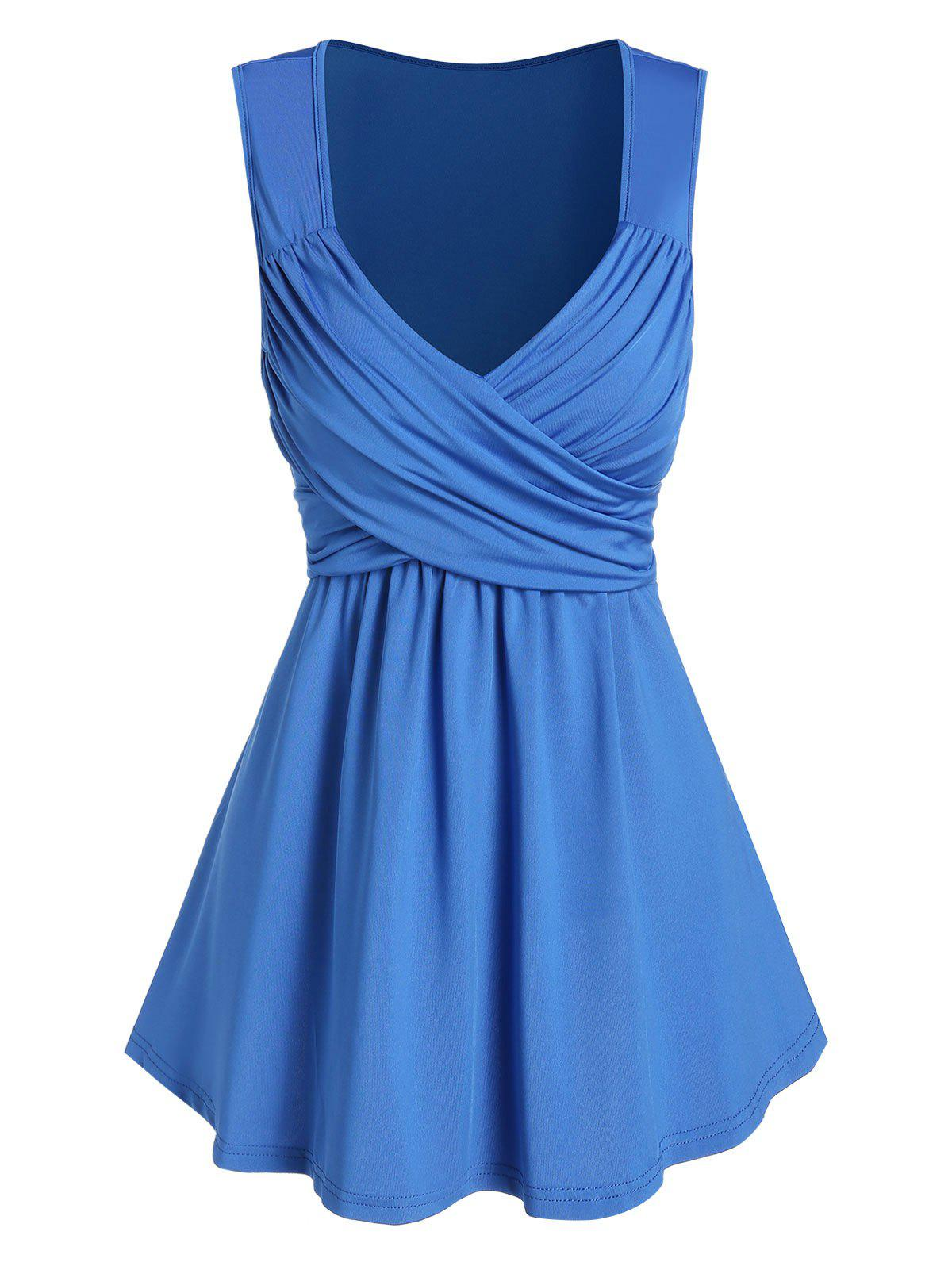 Best Plunge Neck Crossover Flare Tank Top