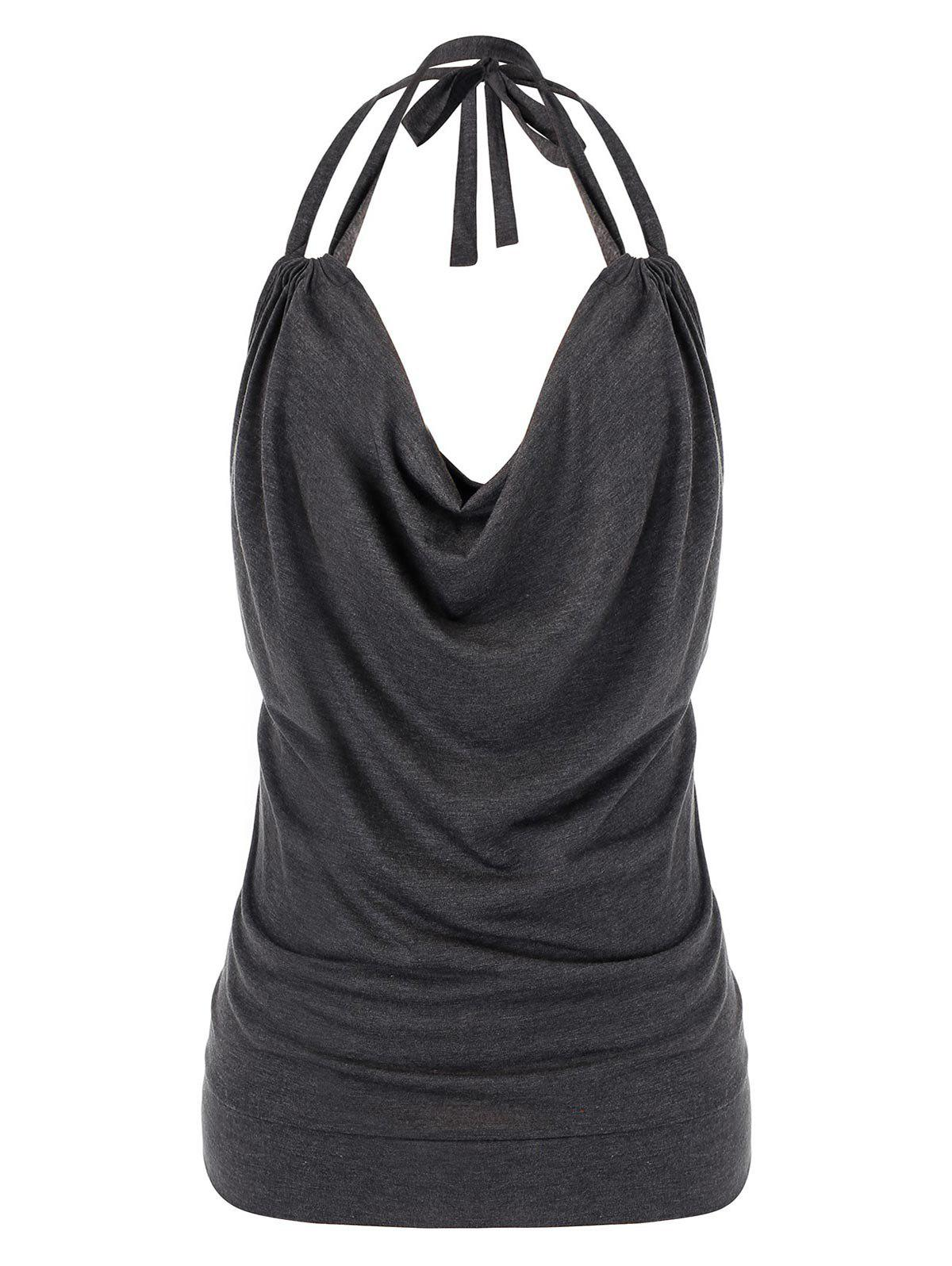 New Plus Size Cowl Front Halter Open Back Tank Top