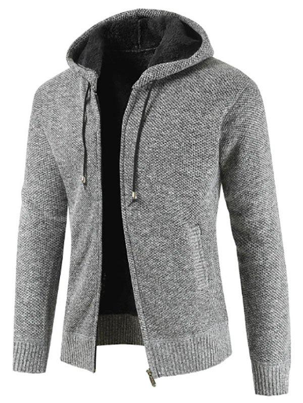 Outfits Casual Zip Up Hooded Fluffy Cardigan