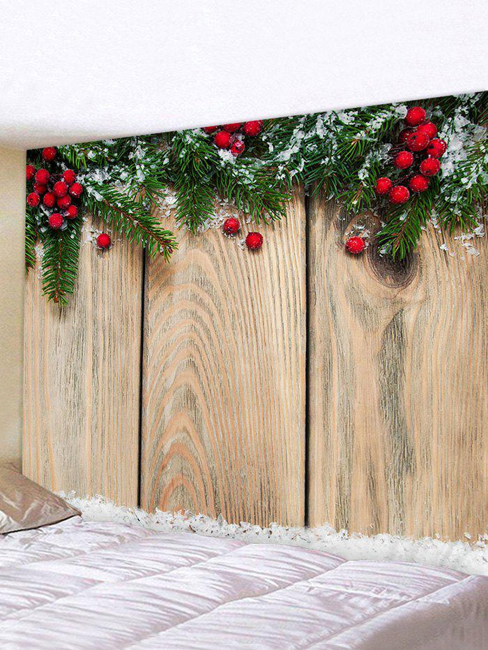 Buy Christmas Branches Berry Wood Grain Print Tapestry Wall Hanging Art Decoration