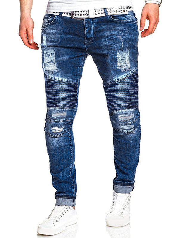 Cheap Ripped Drape Panel Zip Fly Jeans