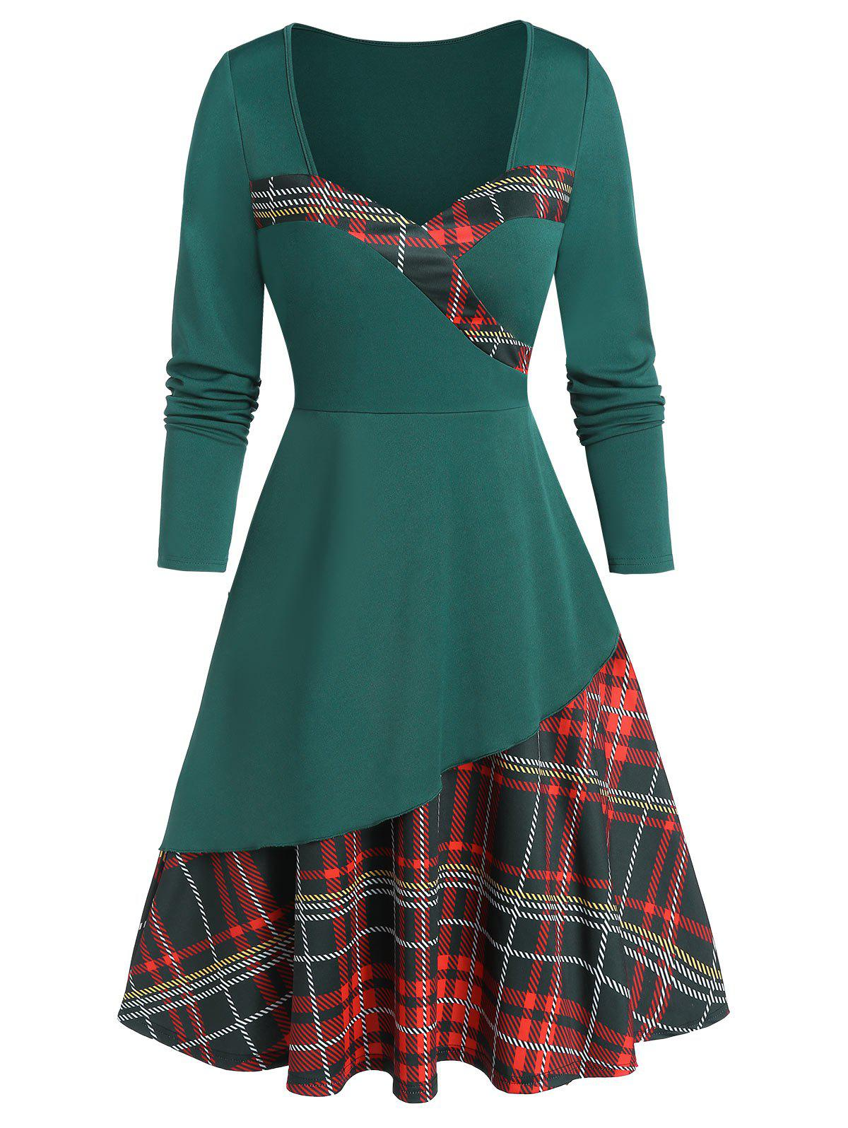 Fancy Sweetheart Neck Plaid Fit and Flare Dress