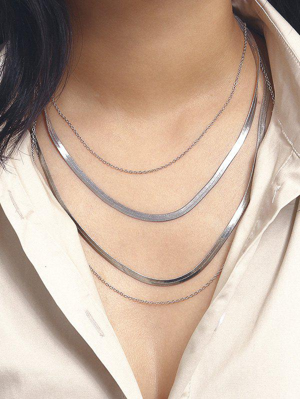 Cheap Brief Herringbone Chain Layered Necklace