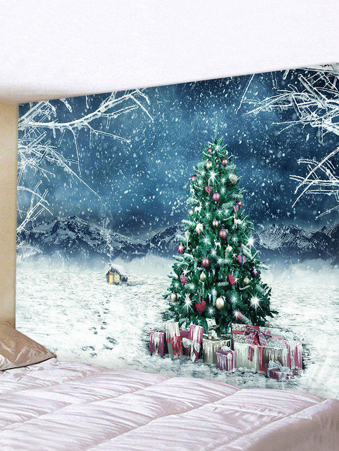 Chic Christmas Tree Gifts House Print Tapestry Wall Hanging Art Decoration