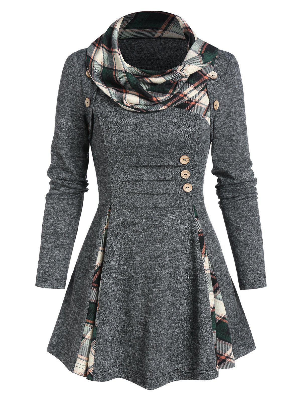 Hot Plaid Print Ruched Mock Button Sweater
