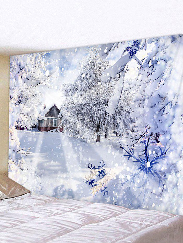 Affordable Christmas Snow Forest House Print Tapestry Wall Hanging Art Decoration