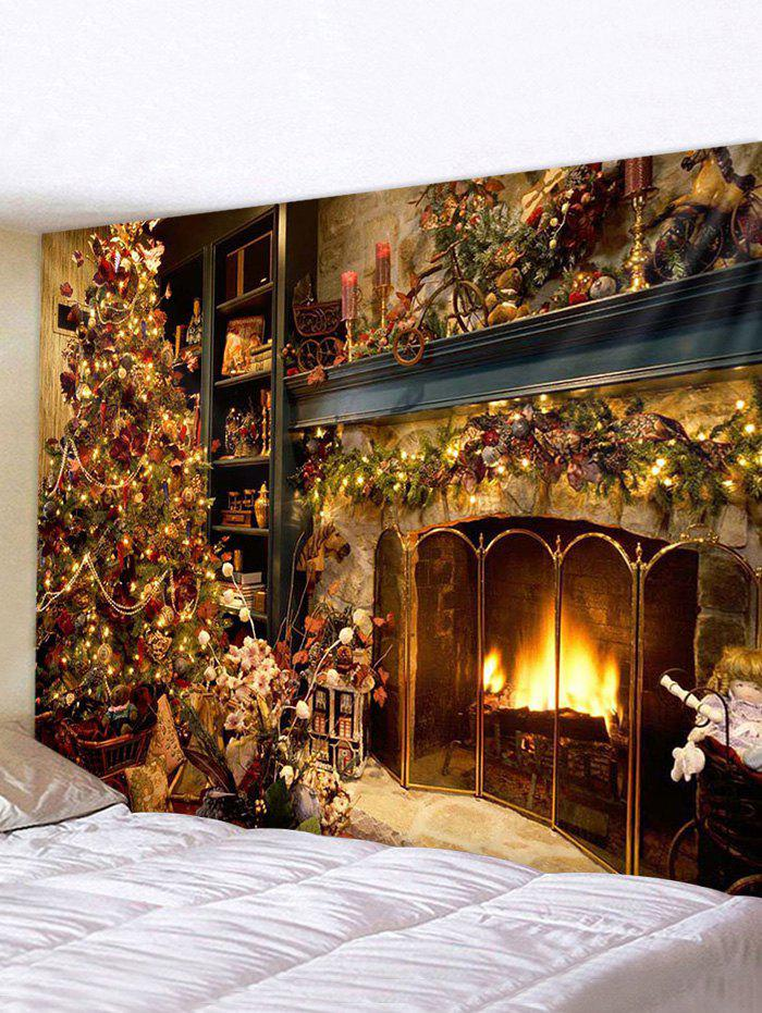 New Christmas Tree Fireplace Printed Tapestry Wall Hanging
