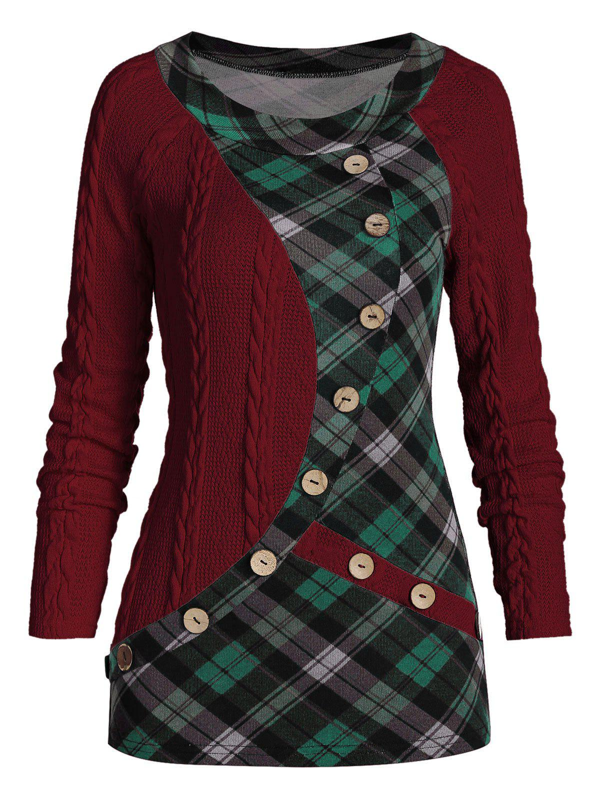 Affordable Mock Button Plaid Insert Cable Knit Sweater