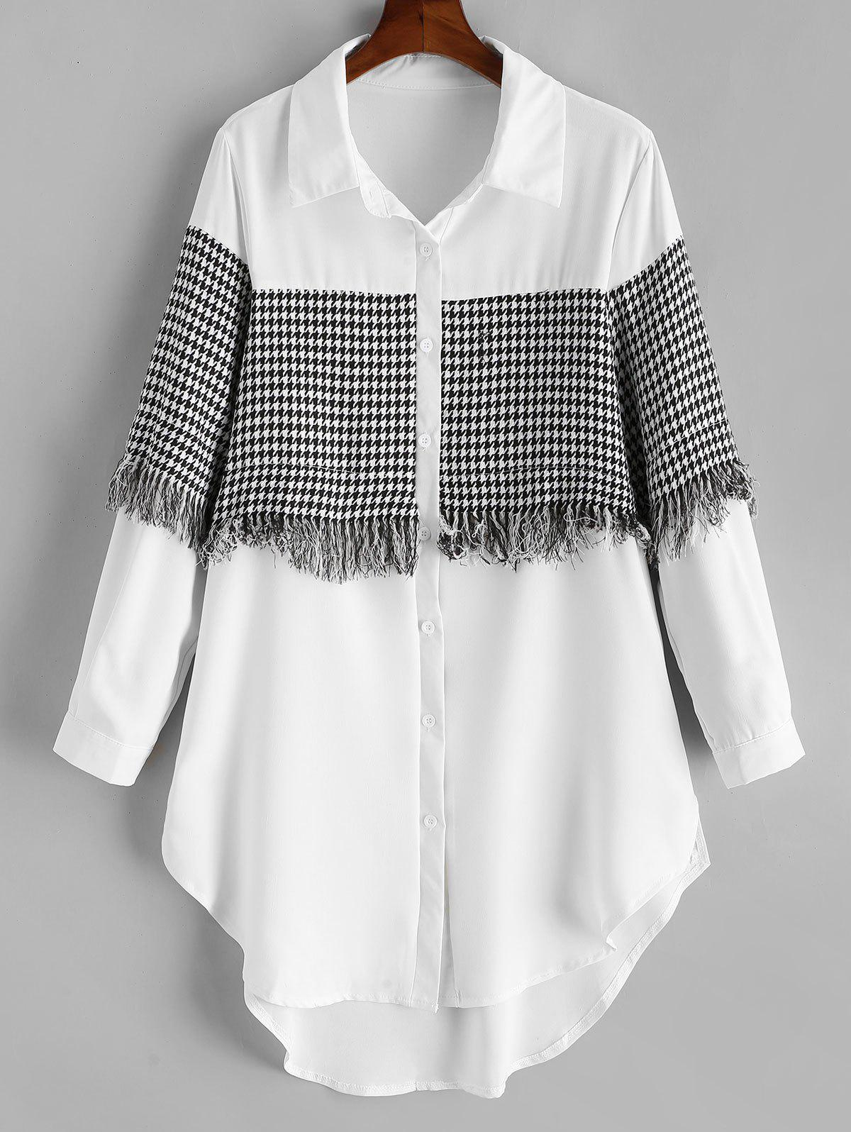 Outfit Plus Size High Low Houndstooth Fringed Shirt